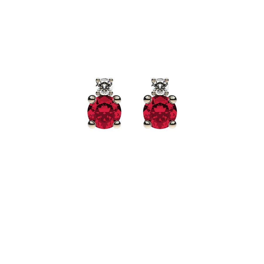 Orecchino doppio fronte ruby
